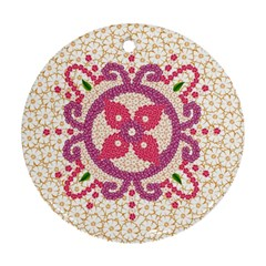 Hindu Flower Ornament Background Round Ornament (Two Sides)