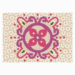 Hindu Flower Ornament Background Large Glasses Cloth