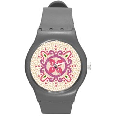 Hindu Flower Ornament Background Round Plastic Sport Watch (m)