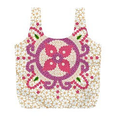 Hindu Flower Ornament Background Full Print Recycle Bags (L)