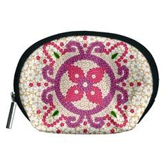 Hindu Flower Ornament Background Accessory Pouches (Medium)