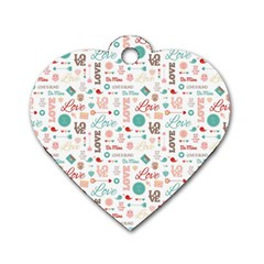 Lovely Valentine s Day Pattern Dog Tag Heart (One Side)