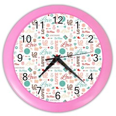 Lovely Valentine s Day Pattern Color Wall Clocks