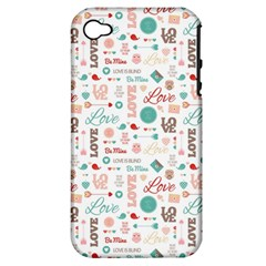 Lovely Valentine s Day Pattern Apple iPhone 4/4S Hardshell Case (PC+Silicone)