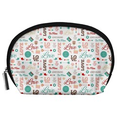 Lovely Valentine s Day Pattern Accessory Pouches (Large)