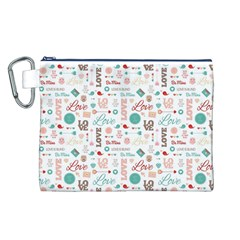 Lovely Valentine s Day Pattern Canvas Cosmetic Bag (L)