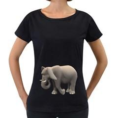 Elephant 2 Womens' Maternity T-shirt (Black)