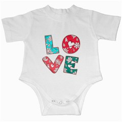 Vintage Love Lettering With Ornament  Infant Creepers