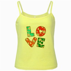 Vintage Love Lettering With Ornament  Yellow Spaghetti Tank