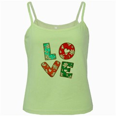 Vintage Love Lettering With Ornament  Green Spaghetti Tank