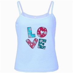Vintage Love Lettering With Ornament  Baby Blue Spaghetti Tank