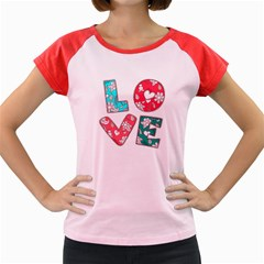 Vintage Love Lettering With Ornament  Women s Cap Sleeve T-Shirt