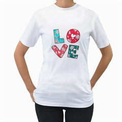 Vintage Love Lettering With Ornament  Women s T-Shirt (White) (Two Sided)