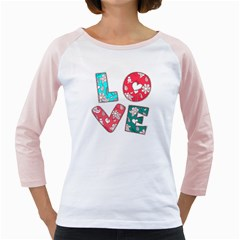 Vintage Love Lettering With Ornament  Girly Raglans