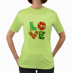 Vintage Love Lettering With Ornament  Women s Green T-Shirt