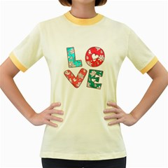 Vintage Love Lettering With Ornament  Women s Fitted Ringer T-Shirts