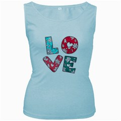 Vintage Love Lettering With Ornament  Women s Baby Blue Tank Top