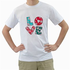 Vintage Love Lettering With Ornament  Men s T-Shirt (White) (Two Sided)