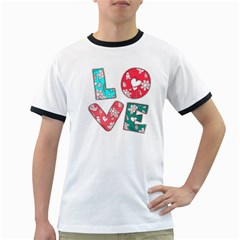 Vintage Love Lettering With Ornament  Ringer T-Shirts