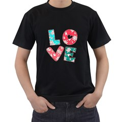 Vintage Love Lettering With Ornament  Men s T-Shirt (Black) (Two Sided)