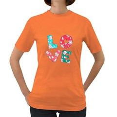 Vintage Love Lettering With Ornament  Women s Dark T-Shirt