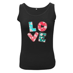 Vintage Love Lettering With Ornament  Women s Black Tank Top