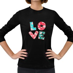 Vintage Love Lettering With Ornament  Women s Long Sleeve Dark T-Shirts
