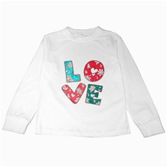Vintage Love Lettering With Ornament  Kids Long Sleeve T-Shirts