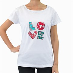 Vintage Love Lettering With Ornament  Women s Loose-Fit T-Shirt (White)