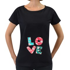 Vintage Love Lettering With Ornament  Women s Loose-Fit T-Shirt (Black)