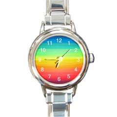 Sweet Colored Stripes Background Round Italian Charm Watch