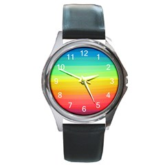 Sweet Colored Stripes Background Round Metal Watch