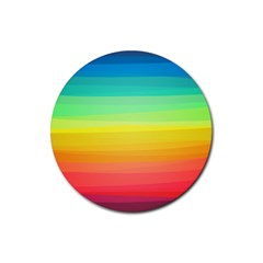 Sweet Colored Stripes Background Rubber Round Coaster (4 pack)