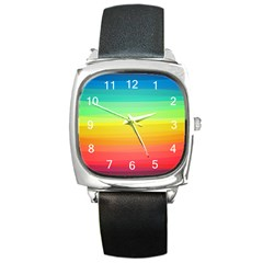 Sweet Colored Stripes Background Square Metal Watch