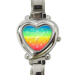 Sweet Colored Stripes Background Heart Italian Charm Watch