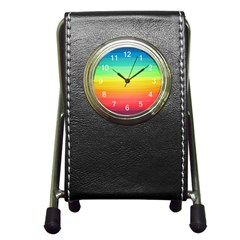 Sweet Colored Stripes Background Pen Holder Desk Clocks