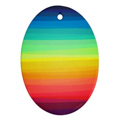 Sweet Colored Stripes Background Oval Ornament (Two Sides)