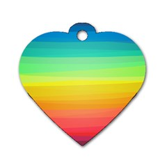 Sweet Colored Stripes Background Dog Tag Heart (Two Sides)
