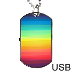 Sweet Colored Stripes Background Dog Tag USB Flash (Two Sides)