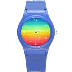 Sweet Colored Stripes Background Round Plastic Sport Watch (S)