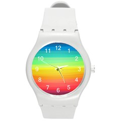 Sweet Colored Stripes Background Round Plastic Sport Watch (M)