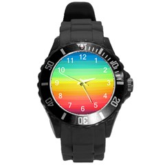 Sweet Colored Stripes Background Round Plastic Sport Watch (L)