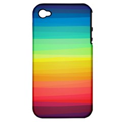 Sweet Colored Stripes Background Apple iPhone 4/4S Hardshell Case (PC+Silicone)