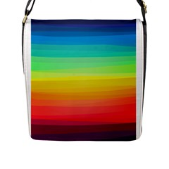Sweet Colored Stripes Background Flap Messenger Bag (L)
