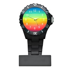 Sweet Colored Stripes Background Plastic Nurses Watch