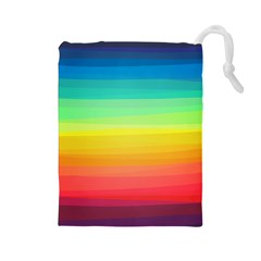 Sweet Colored Stripes Background Drawstring Pouches (Large)