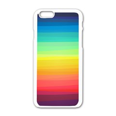 Sweet Colored Stripes Background Apple iPhone 6/6S White Enamel Case