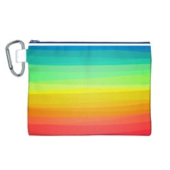 Sweet Colored Stripes Background Canvas Cosmetic Bag (L)