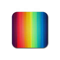 Sweet Colored Stripes Background Rubber Square Coaster (4 pack)
