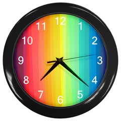 Sweet Colored Stripes Background Wall Clocks (Black)